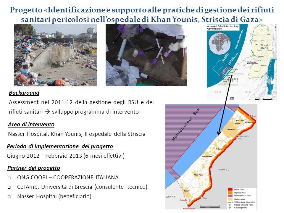 Progetto «Identificazione e supporto alle pratiche di gestione dei rifiuti sanitari pericolosi nell'ospedale di Khan Younis, Striscia di Gaza» Area di