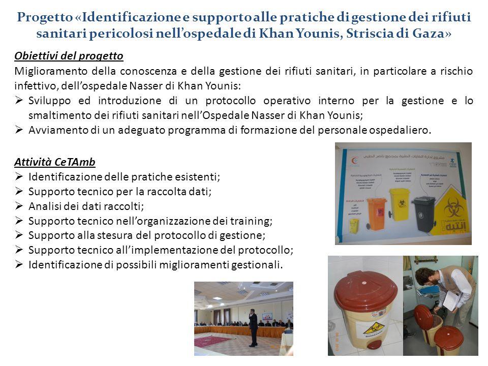 Obiettivi del progetto Miglioramento della conoscenza e della gestione dei rifiuti sanitari, in particolare a rischio infettivo, dell'ospedale Nasser