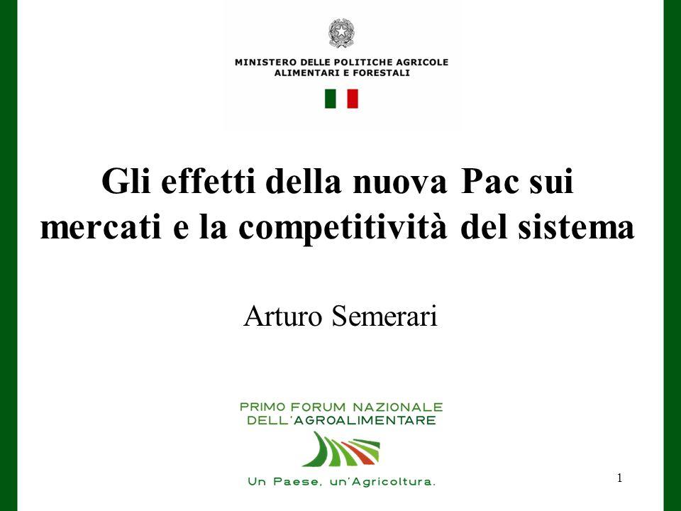 Gli effetti della nuova Pac sui mercati e la competitività del sistema Arturo Semerari 1