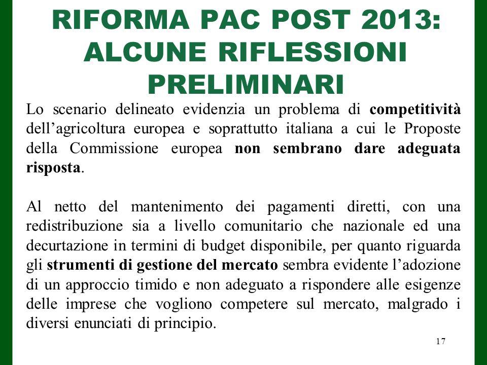 RIFORMA PAC POST 2013: ALCUNE RIFLESSIONI PRELIMINARI Lo scenario delineato evidenzia un problema di competitività dell'agricoltura europea e soprattutto italiana a cui le Proposte della Commissione europea non sembrano dare adeguata risposta.