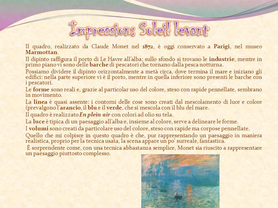 Il quadro, realizzato da Claude Monet nel 1872, è oggi conservato a Parigi, nel museo Marmottan. Il dipinto raffigura il porto di Le Havre all'alba; s