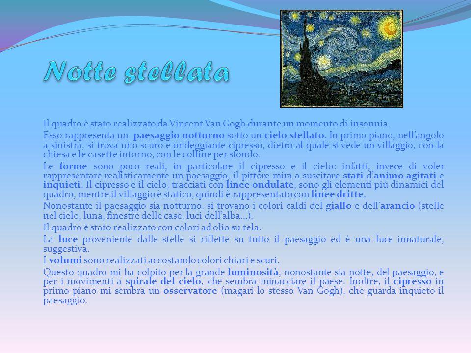 Il quadro è stato realizzato da Vincent Van Gogh durante un momento di insonnia.