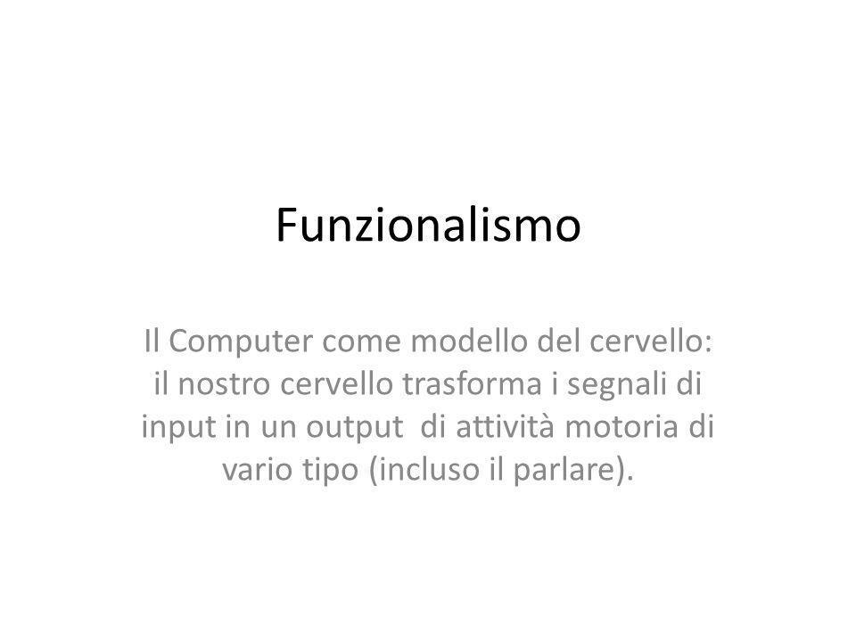 Funzionalismo Il Computer come modello del cervello: il nostro cervello trasforma i segnali di input in un output di attività motoria di vario tipo (incluso il parlare).