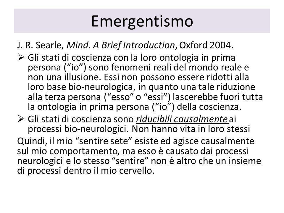 Emergentismo J. R. Searle, Mind. A Brief Introduction, Oxford 2004.