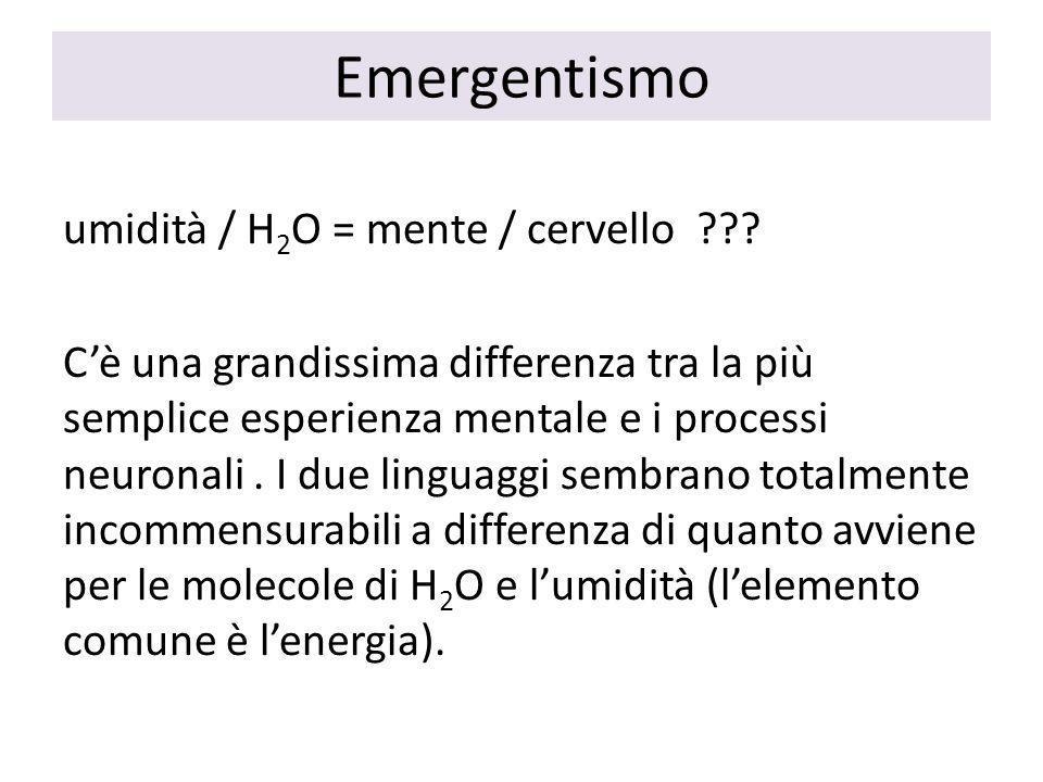 Emergentismo umidità / H 2 O = mente / cervello .