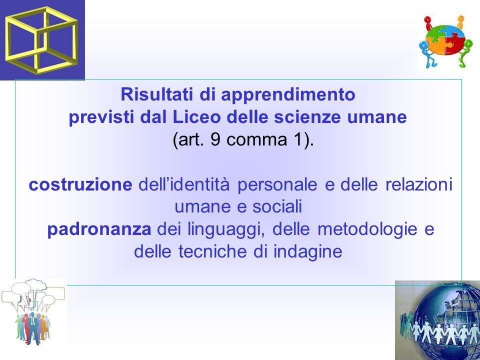 Risultati di apprendimento previsti dal Liceo delle scienze umane (art. 9 comma 1). costruzione dell'identità personale e delle relazioni umane e soci