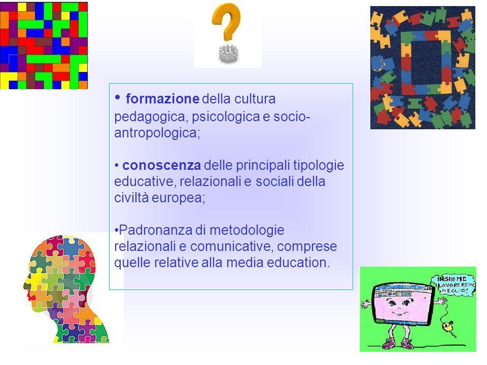 formazione della cultura pedagogica, psicologica e socio- antropologica; conoscenza delle principali tipologie educative, relazionali e sociali della civiltà europea; Padronanza di metodologie relazionali e comunicative, comprese quelle relative alla media education.