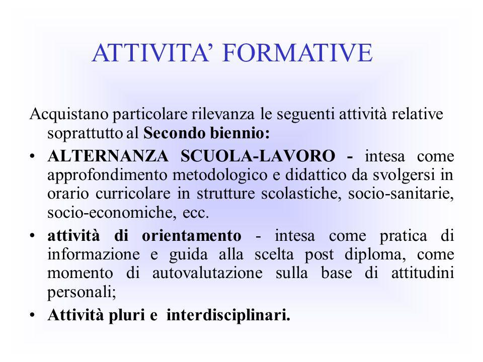 Acquistano particolare rilevanza le seguenti attività relative soprattutto al Secondo biennio: ALTERNANZA SCUOLA-LAVORO - intesa come approfondimento