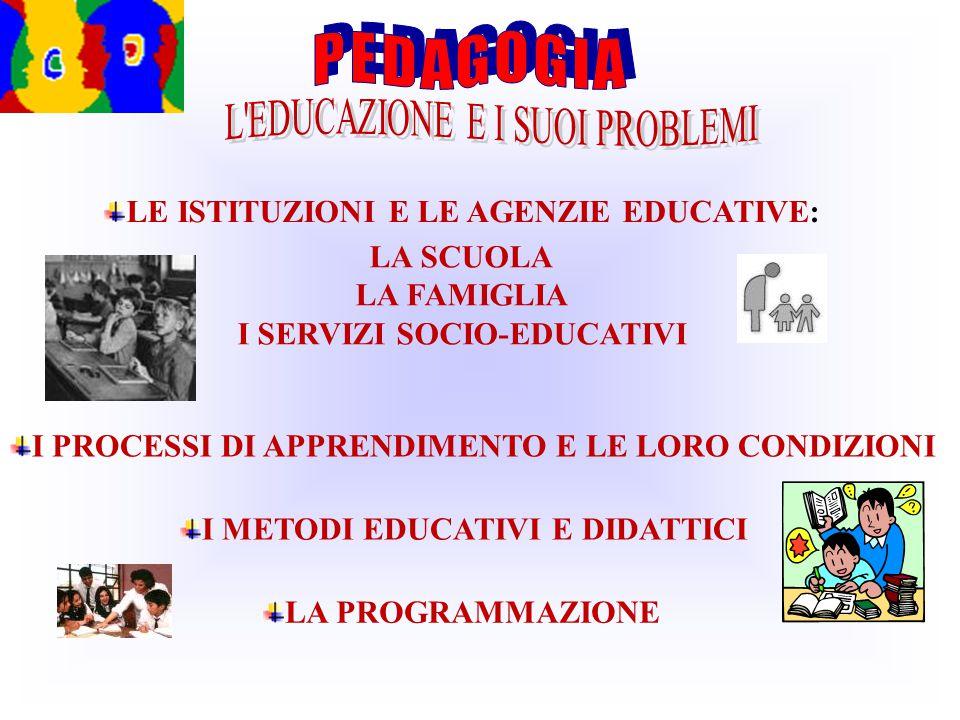I METODI EDUCATIVI E DIDATTICI I PROCESSI DI APPRENDIMENTO E LE LORO CONDIZIONI LE ISTITUZIONI E LE AGENZIE EDUCATIVE: LA SCUOLA LA FAMIGLIA I SERVIZI SOCIO-EDUCATIVI LA PROGRAMMAZIONE