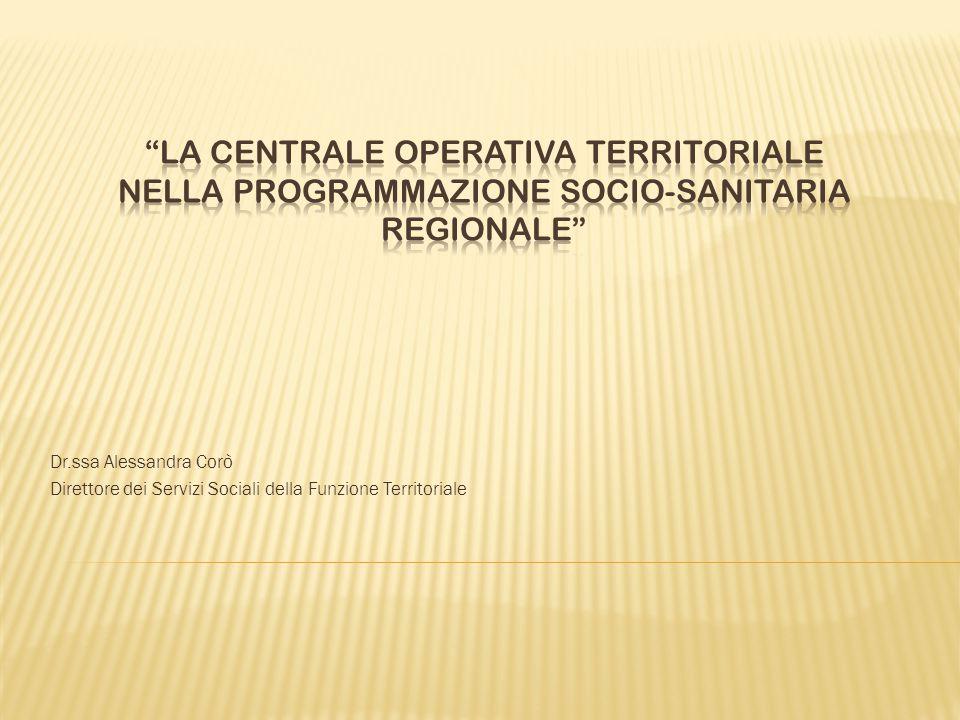 Dr.ssa Alessandra Corò Direttore dei Servizi Sociali della Funzione Territoriale