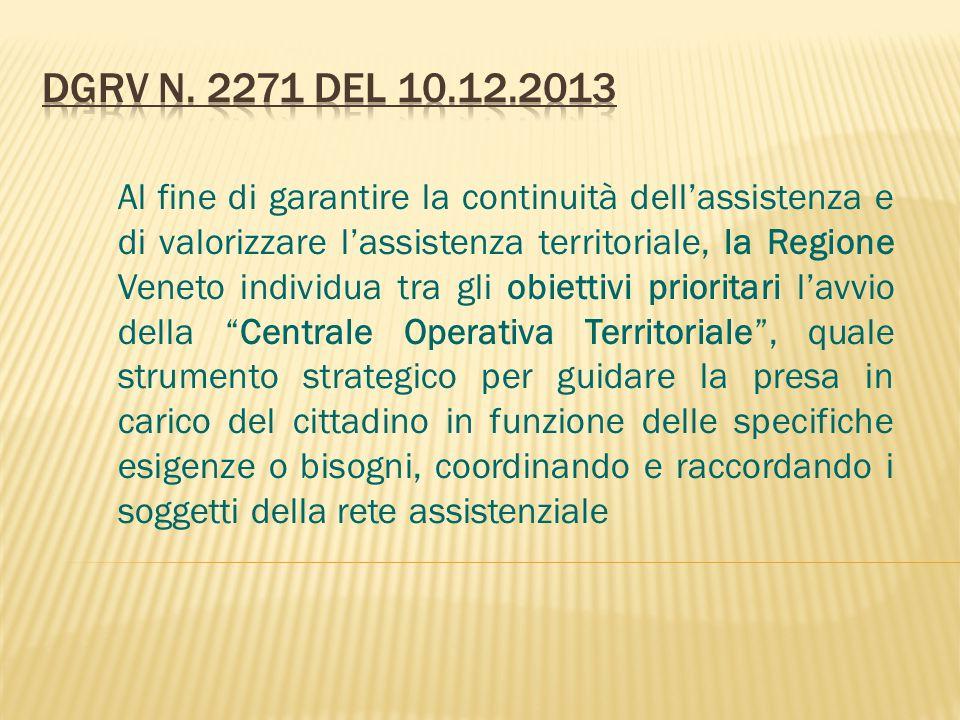 Al fine di garantire la continuità dell'assistenza e di valorizzare l'assistenza territoriale, la Regione Veneto individua tra gli obiettivi prioritar