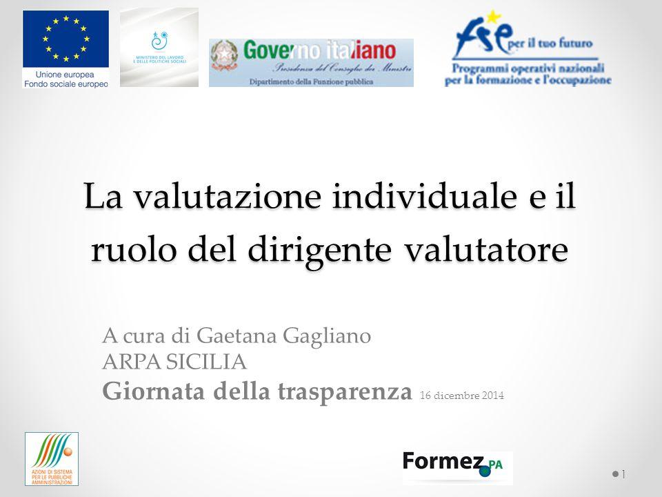 La valutazione individuale e il ruolo del dirigente valutatore 1 A cura di Gaetana Gagliano ARPA SICILIA Giornata della trasparenza 16 dicembre 2014