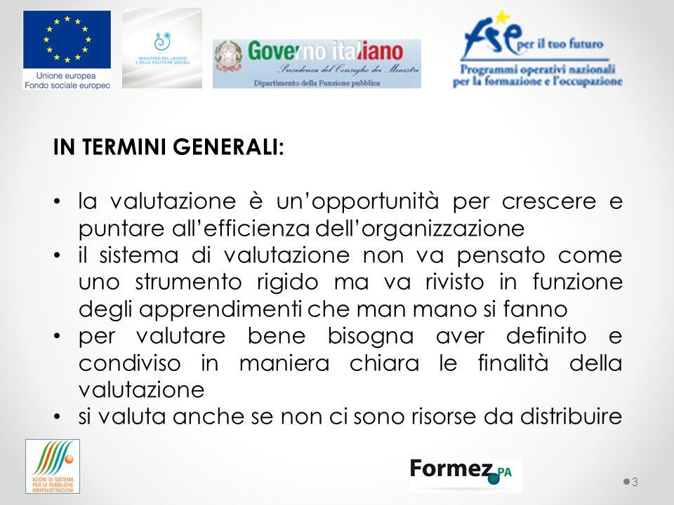 3 IN TERMINI GENERALI: la valutazione è un'opportunità per crescere e puntare all'efficienza dell'organizzazione il sistema di valutazione non va pens