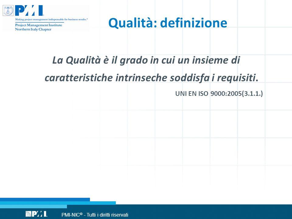 PMI-NIC © - Tutti i diritti riservati Qualità: definizione La Qualità è il grado in cui un insieme di caratteristiche intrinseche soddisfa i requisiti.