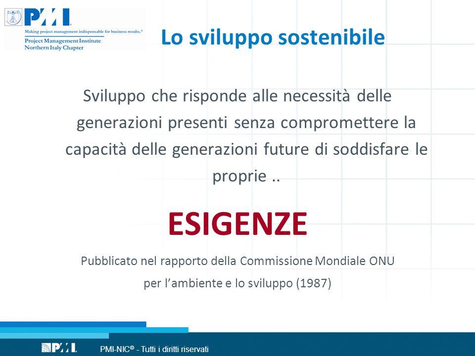 PMI-NIC © - Tutti i diritti riservati Lo sviluppo sostenibile Sviluppo che risponde alle necessità delle generazioni presenti senza compromettere la capacità delle generazioni future di soddisfare le proprie..