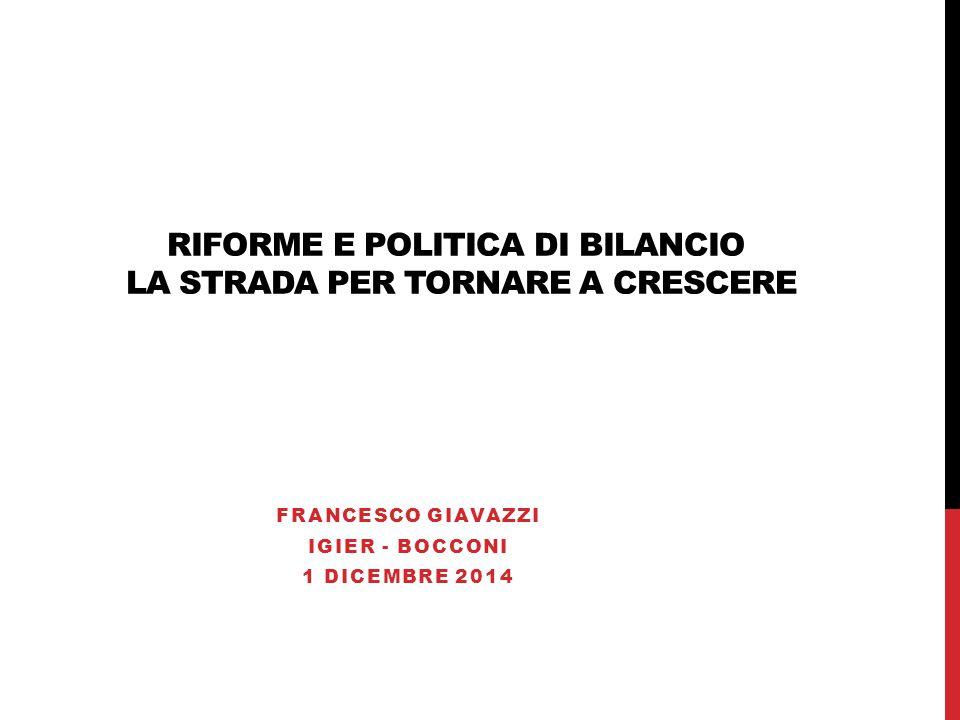 RIFORME E POLITICA DI BILANCIO LA STRADA PER TORNARE A CRESCERE FRANCESCO GIAVAZZI IGIER - BOCCONI 1 DICEMBRE 2014