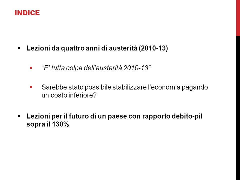 """INDICE  Lezioni da quattro anni di austerità (2010-13)  """"E' tutta colpa dell'austerità 2010-13""""  Sarebbe stato possibile stabilizzare l'economia pa"""