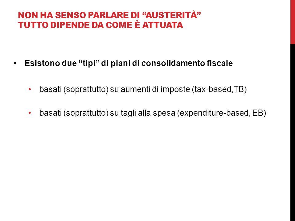 """NON HA SENSO PARLARE DI """"AUSTERITÀ"""" TUTTO DIPENDE DA COME È ATTUATA Esistono due """"tipi"""" di piani di consolidamento fiscale basati (soprattutto) su aum"""