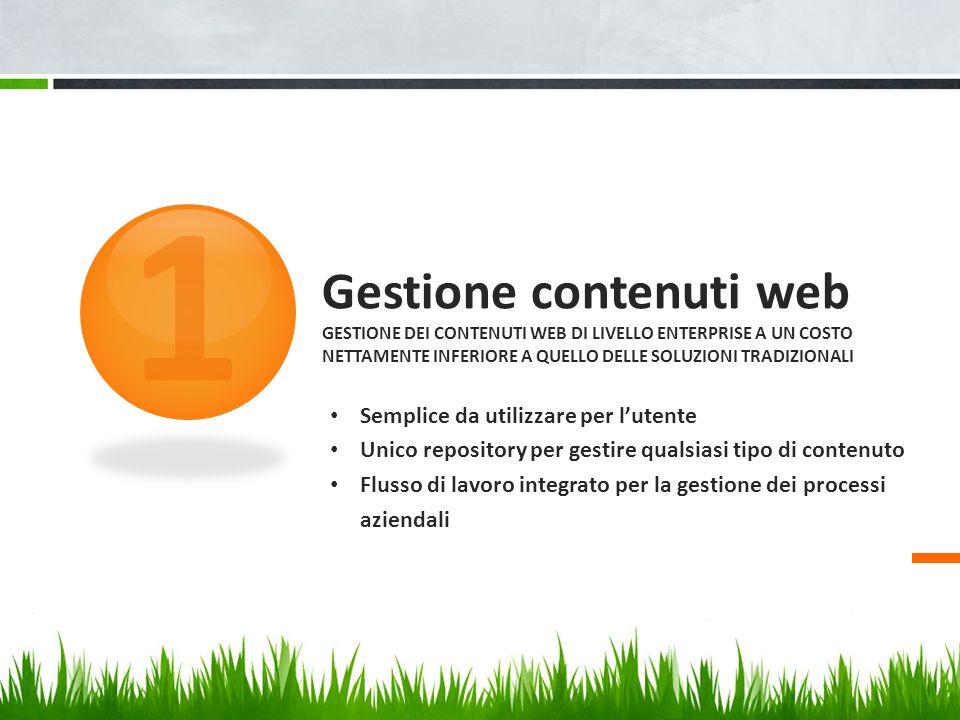 Gestione contenuti web GESTIONE DEI CONTENUTI WEB DI LIVELLO ENTERPRISE A UN COSTO NETTAMENTE INFERIORE A QUELLO DELLE SOLUZIONI TRADIZIONALI 1 Sempli