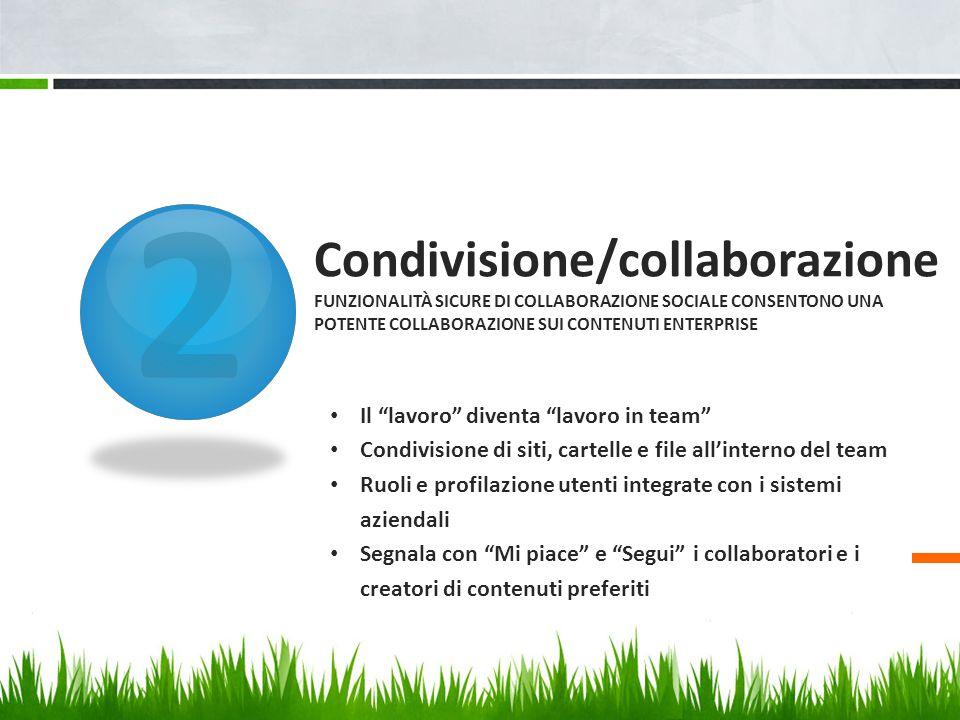 """2 Condivisione/collaborazione FUNZIONALITÀ SICURE DI COLLABORAZIONE SOCIALE CONSENTONO UNA POTENTE COLLABORAZIONE SUI CONTENUTI ENTERPRISE Il """"lavoro"""""""