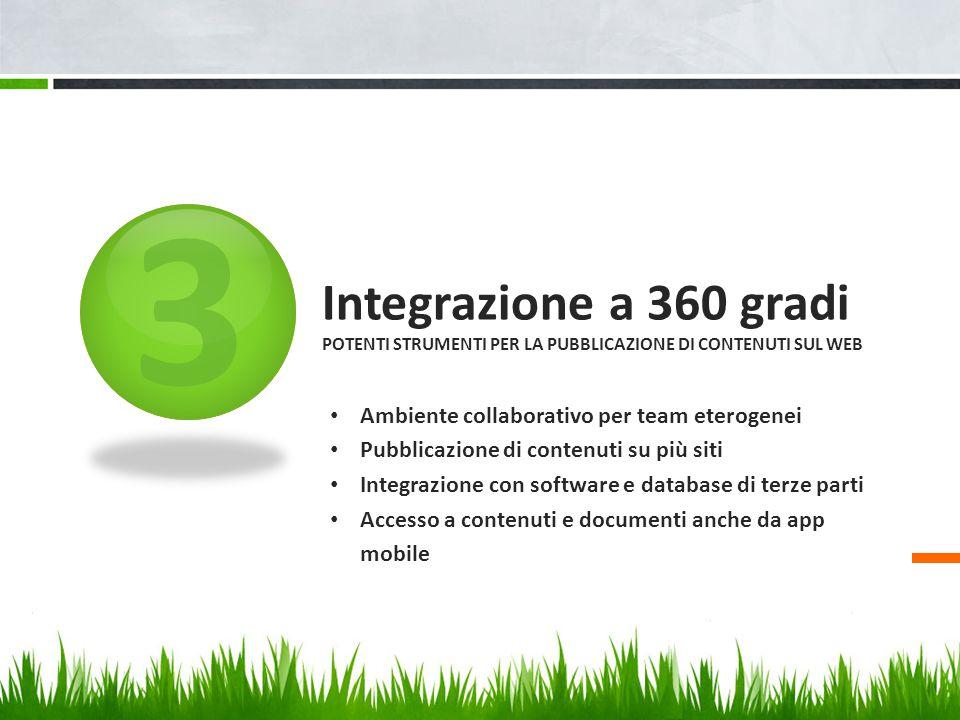 3 Integrazione a 360 gradi POTENTI STRUMENTI PER LA PUBBLICAZIONE DI CONTENUTI SUL WEB Ambiente collaborativo per team eterogenei Pubblicazione di con