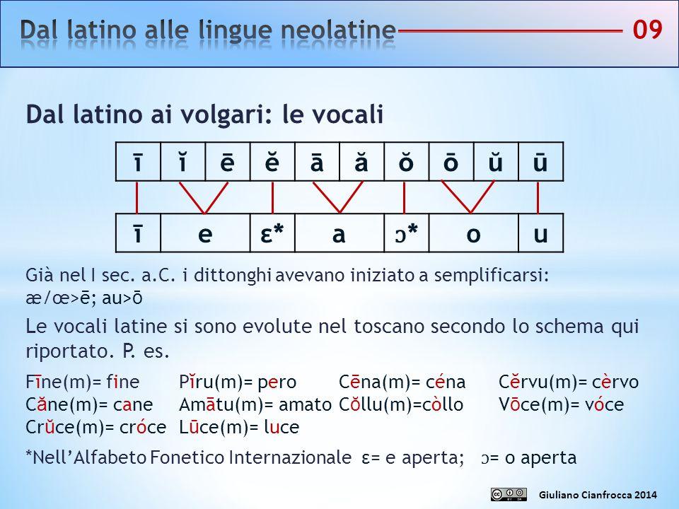 Dal latino ai volgari: le vocali Già nel I sec. a.C. i dittonghi avevano iniziato a semplificarsi: æ/œ>ē; au>ō Le vocali latine si sono evolute nel to
