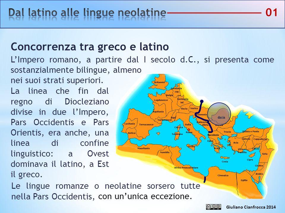 Concorrenza tra greco e latino L'Impero romano, a partire dal I secolo d.C., si presenta come sostanzialmente bilingue, almeno nei suoi strati superio