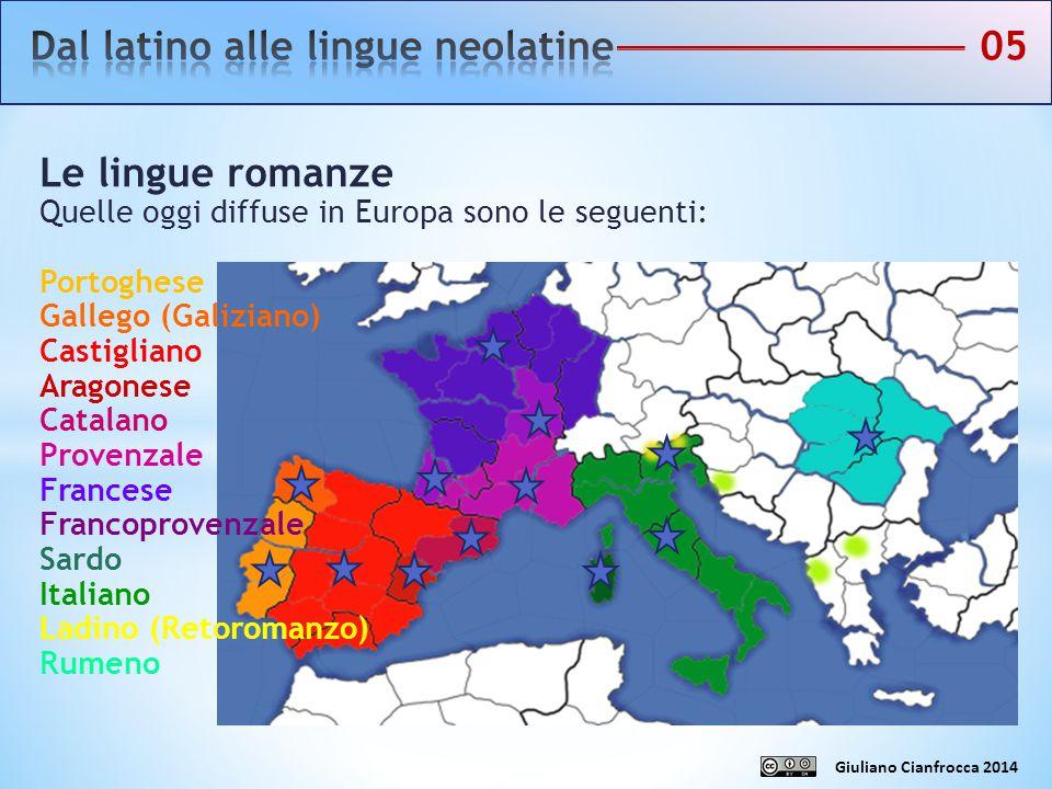 Le lingue romanze Quelle oggi diffuse in Europa sono le seguenti: Portoghese Gallego (Galiziano) Castigliano Aragonese Catalano Provenzale Francese Fr