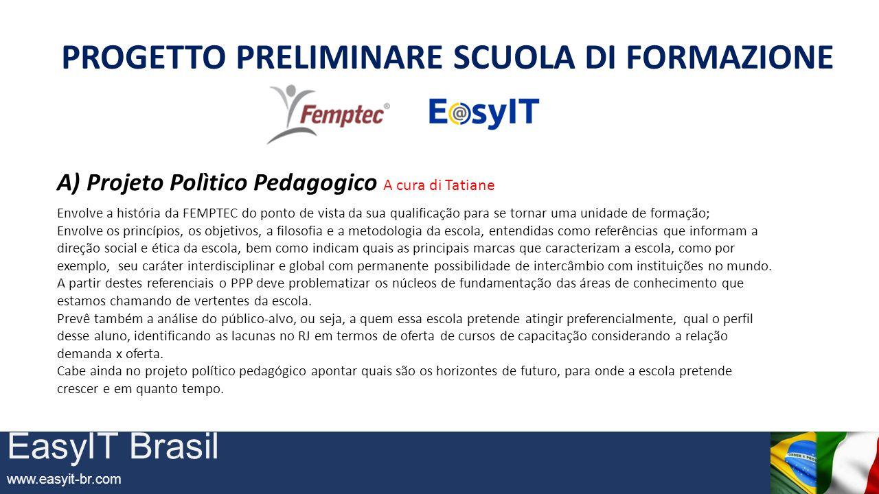 EasyIT Brasil www.easyit-br.com PROGETTO PRELIMINARE SCUOLA DI FORMAZIONE B) DIPARTIMENTI B1) – EXECUTIVE B2) – ORIENTAMENTO e LABORATORI ESPERIENZIALI B3) – MASTER post UNIVERSITARIO