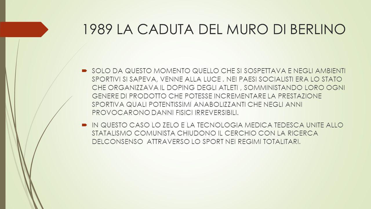 1989 LA CADUTA DEL MURO DI BERLINO  SOLO DA QUESTO MOMENTO QUELLO CHE SI SOSPETTAVA E NEGLI AMBIENTI SPORTIVI SI SAPEVA, VENNE ALLA LUCE. NEI PAESI S
