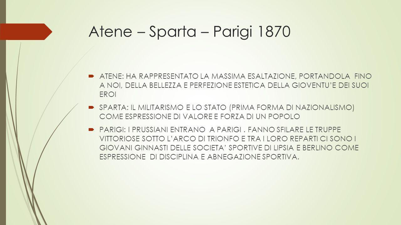 Atene – Sparta – Parigi 1870  ATENE: HA RAPPRESENTATO LA MASSIMA ESALTAZIONE, PORTANDOLA FINO A NOI, DELLA BELLEZZA E PERFEZIONE ESTETICA DELLA GIOVE