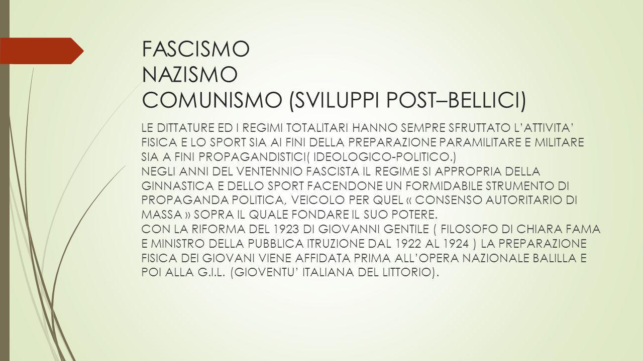 FASCISMO NAZISMO COMUNISMO (SVILUPPI POST–BELLICI) LE DITTATURE ED I REGIMI TOTALITARI HANNO SEMPRE SFRUTTATO L'ATTIVITA' FISICA E LO SPORT SIA AI FIN