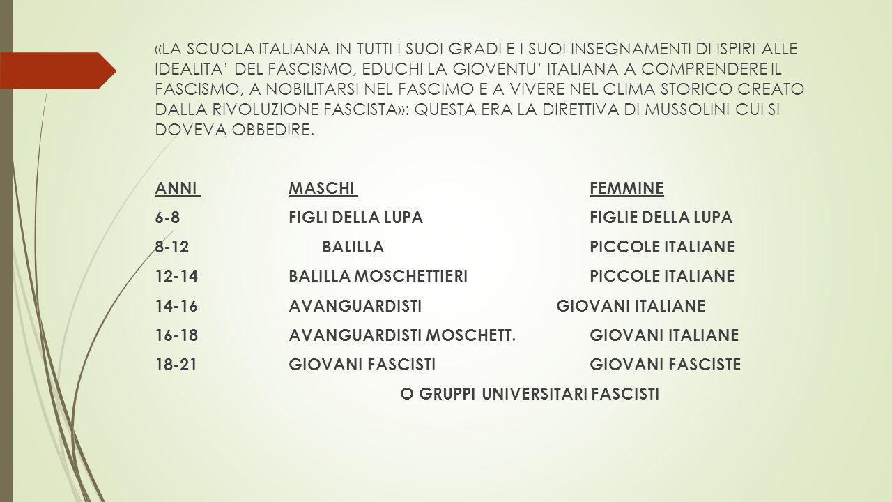 «LA SCUOLA ITALIANA IN TUTTI I SUOI GRADI E I SUOI INSEGNAMENTI DI ISPIRI ALLE IDEALITA' DEL FASCISMO, EDUCHI LA GIOVENTU' ITALIANA A COMPRENDERE IL F