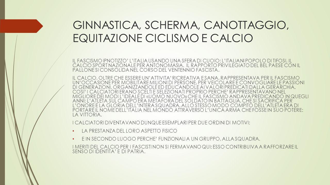 GINNASTICA, SCHERMA, CANOTTAGGIO, EQUITAZIONE CICLISMO E CALCIO IL FASCISMO IPNOTIZZO' L'ITALIA USANDO UNA SFERA DI CUOIO: L'ITALIANI POPOLO DI TIFOSI