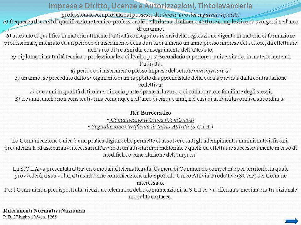 Impresa e Diritto, Licenze e Autorizzazioni, Tintolavanderia Legge n.