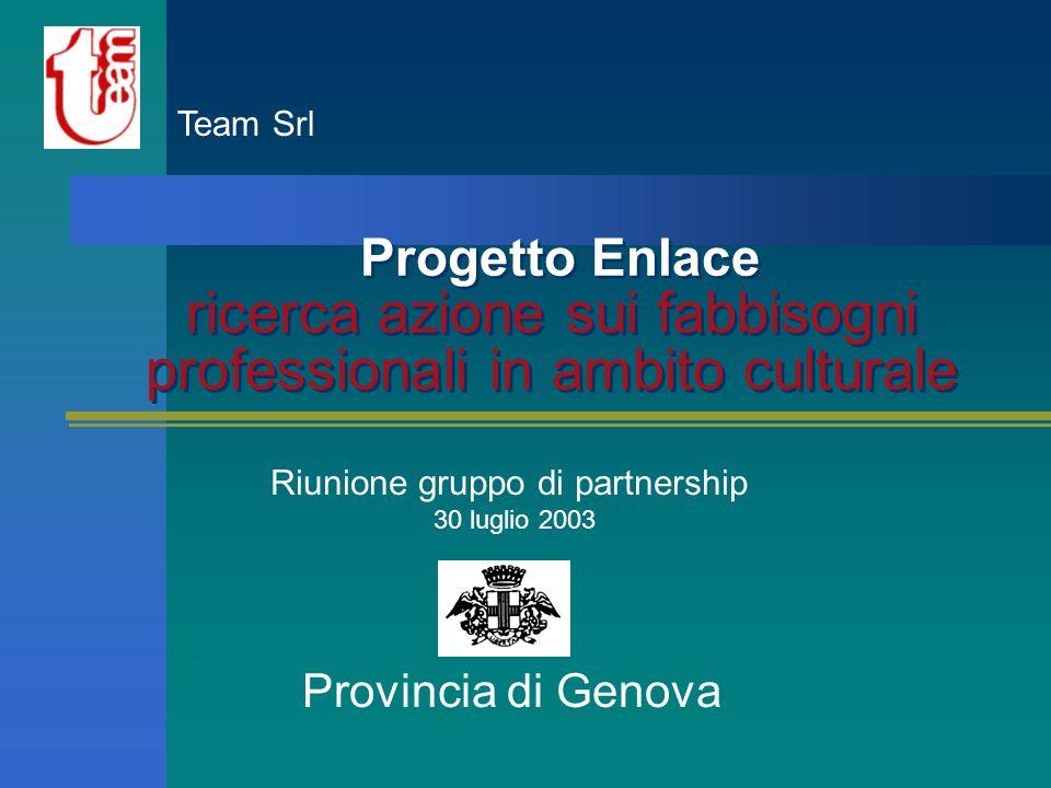 Progetto Enlace ricerca azione sui fabbisogni professionali in ambito culturale Provincia di Genova Team Srl Riunione gruppo di partnership 30 luglio 2003