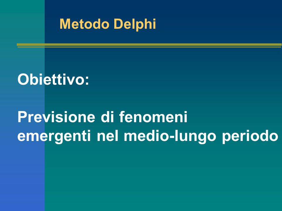 Metodo Delphi Obiettivo: Previsione di fenomeni emergenti nel medio-lungo periodo