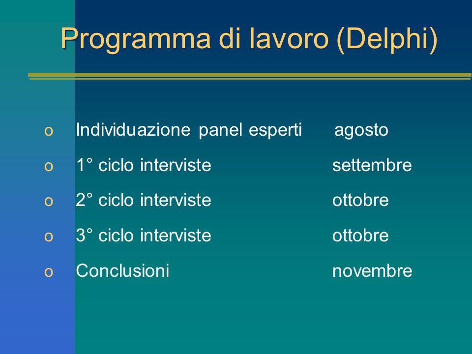 Programma di lavoro (Delphi) o Individuazione panel esperti agosto o 1° ciclo interviste settembre o 2° ciclo interviste ottobre o 3° ciclo interviste ottobre o Conclusioni novembre