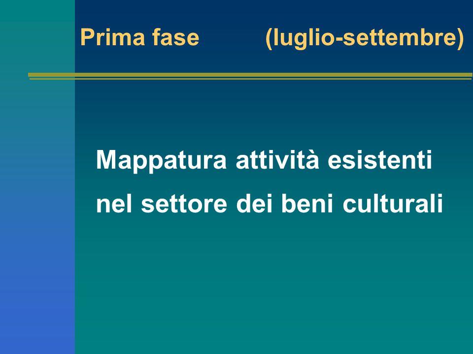 Mappatura attività esistenti nel settore dei beni culturali Prima fase (luglio-settembre)