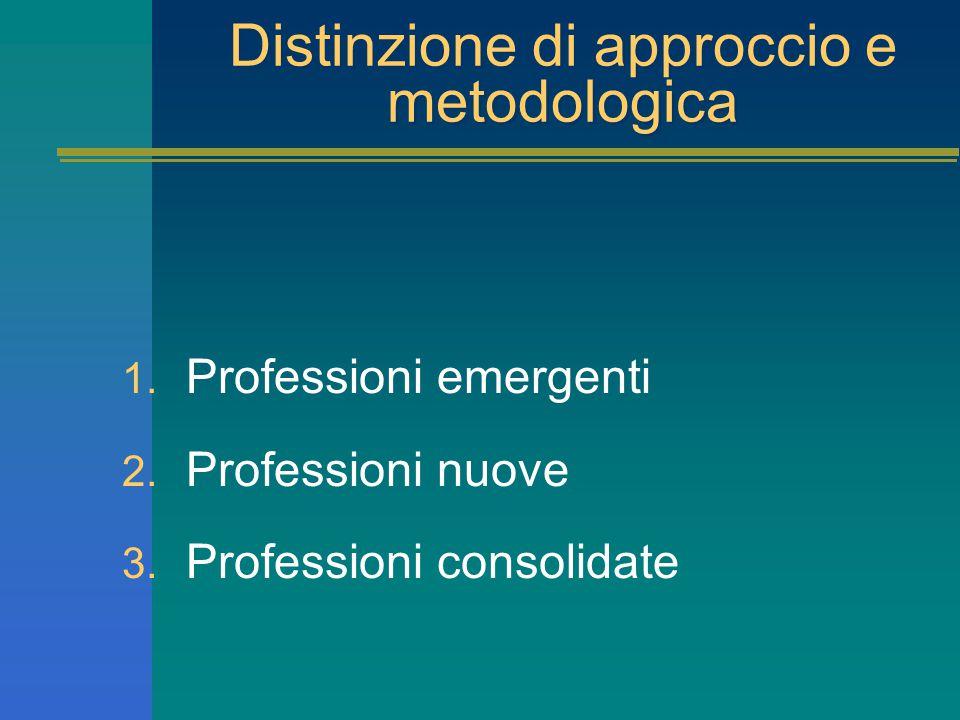 Distinzione di approccio e metodologica 1. Professioni emergenti 2. Professioni nuove 3. Professioni consolidate