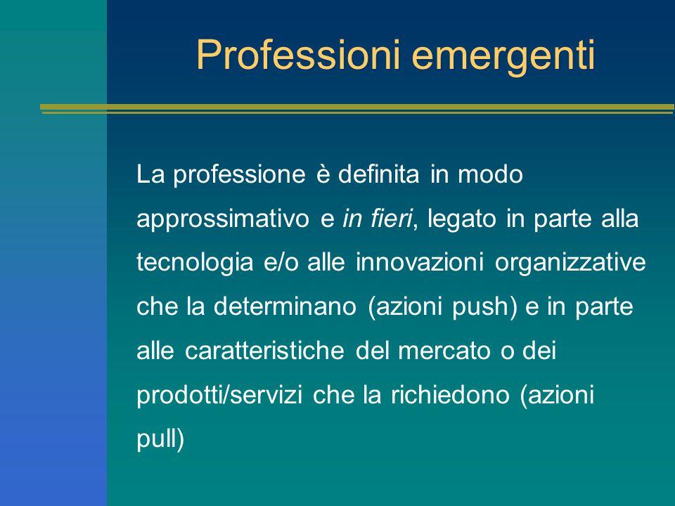 Professioni emergenti La professione è definita in modo approssimativo e in fieri, legato in parte alla tecnologia e/o alle innovazioni organizzative che la determinano (azioni push) e in parte alle caratteristiche del mercato o dei prodotti/servizi che la richiedono (azioni pull)