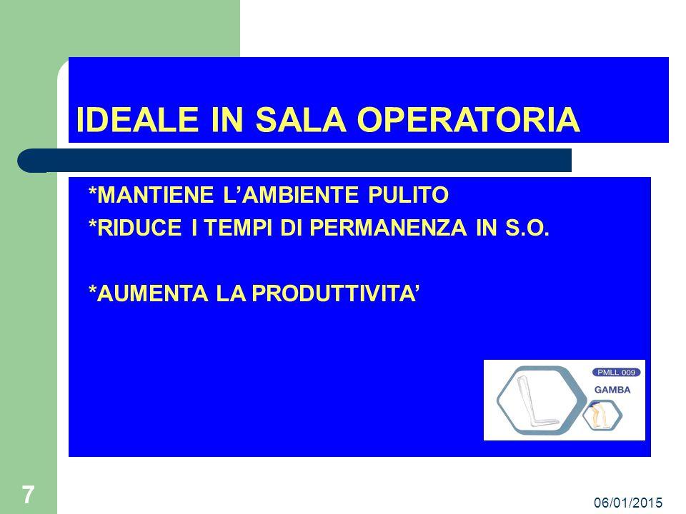 06/01/2015 7 IDEALE IN SALA OPERATORIA *MANTIENE L'AMBIENTE PULITO *RIDUCE I TEMPI DI PERMANENZA IN S.O.