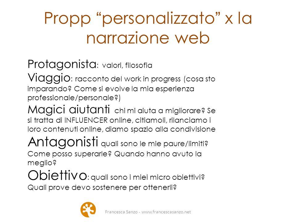 Francesca Sanzo - www.francescasanzo.net Propp personalizzato x la narrazione web Protagonista : valori, filosofia Viaggio : racconto del work in progress (cosa sto imparando.