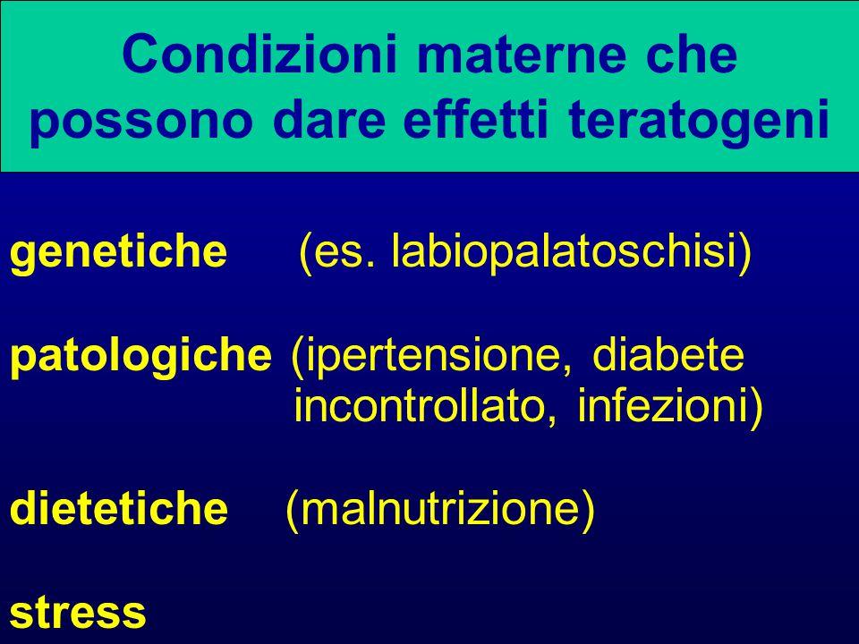 Condizioni materne che possono dare effetti teratogeni genetiche (es.