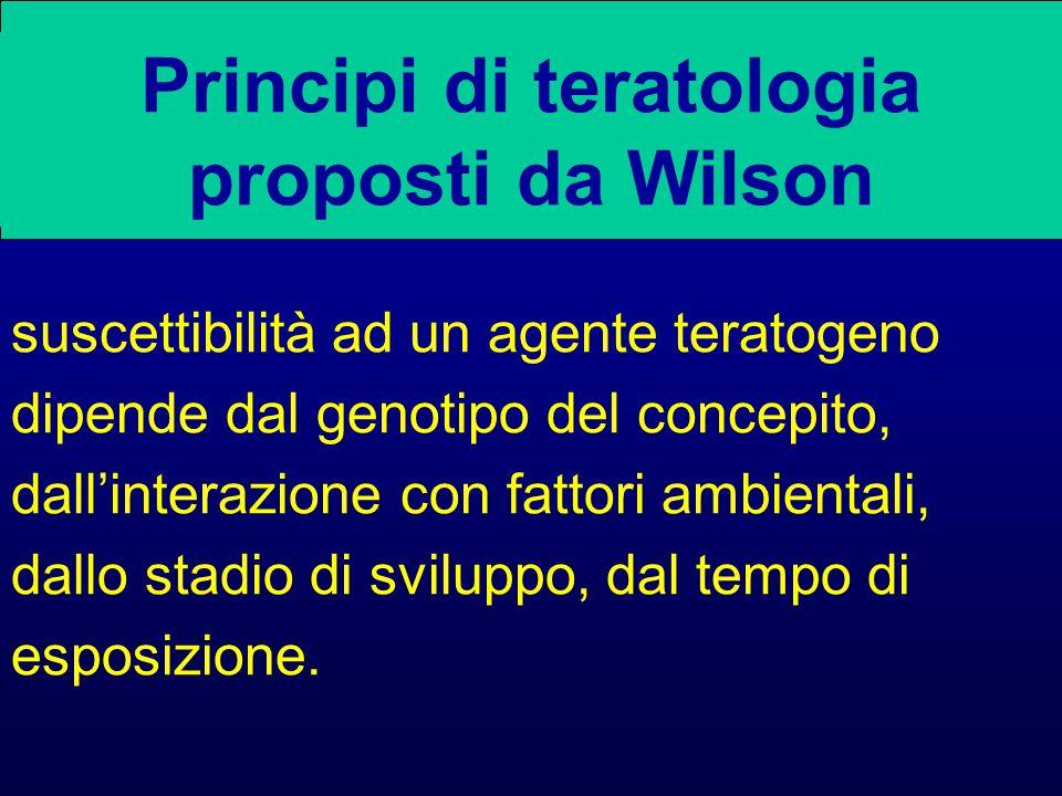 Principi di teratologia proposti da Wilson suscettibilità ad un agente teratogeno dipende dal genotipo del concepito, dall'interazione con fattori ambientali, dallo stadio di sviluppo, dal tempo di esposizione.