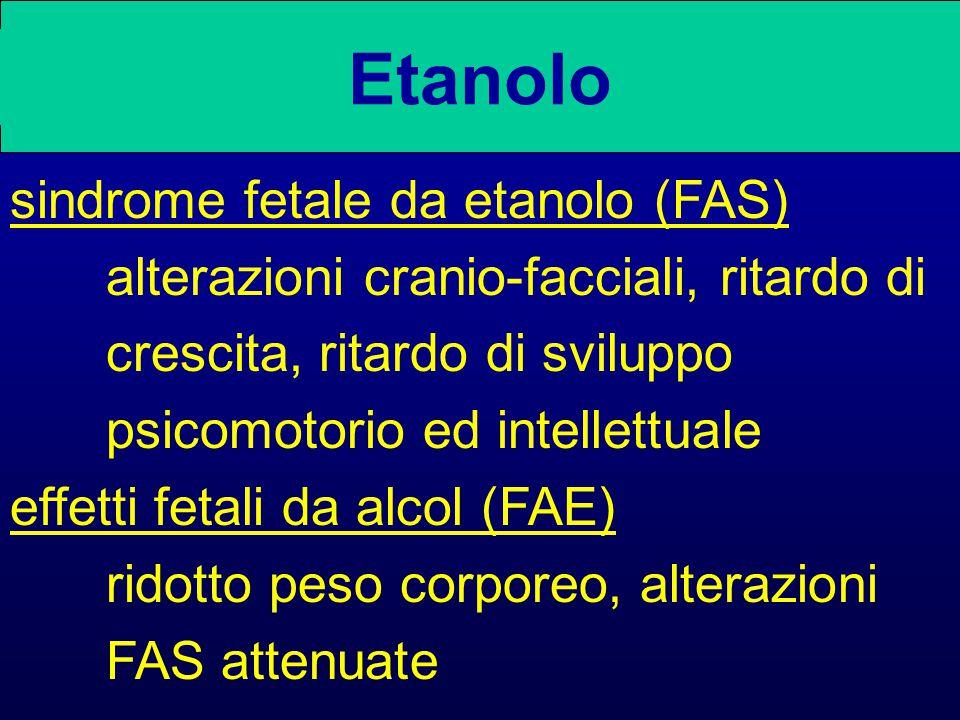 Etanolo sindrome fetale da etanolo (FAS) alterazioni cranio-facciali, ritardo di crescita, ritardo di sviluppo psicomotorio ed intellettuale effetti fetali da alcol (FAE) ridotto peso corporeo, alterazioni FAS attenuate