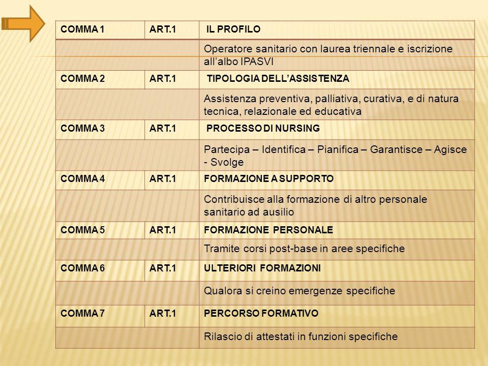 COMMA 1ART.1 IL PROFILO Operatore sanitario con laurea triennale e iscrizione all'albo IPASVI COMMA 2ART.1 TIPOLOGIA DELL'ASSISTENZA Assistenza preven