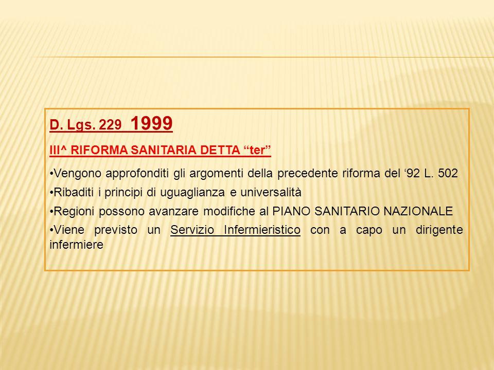 """D. Lgs. 229 1999 III^ RIFORMA SANITARIA DETTA """"ter"""" Vengono approfonditi gli argomenti della precedente riforma del '92 L. 502 Ribaditi i principi di"""