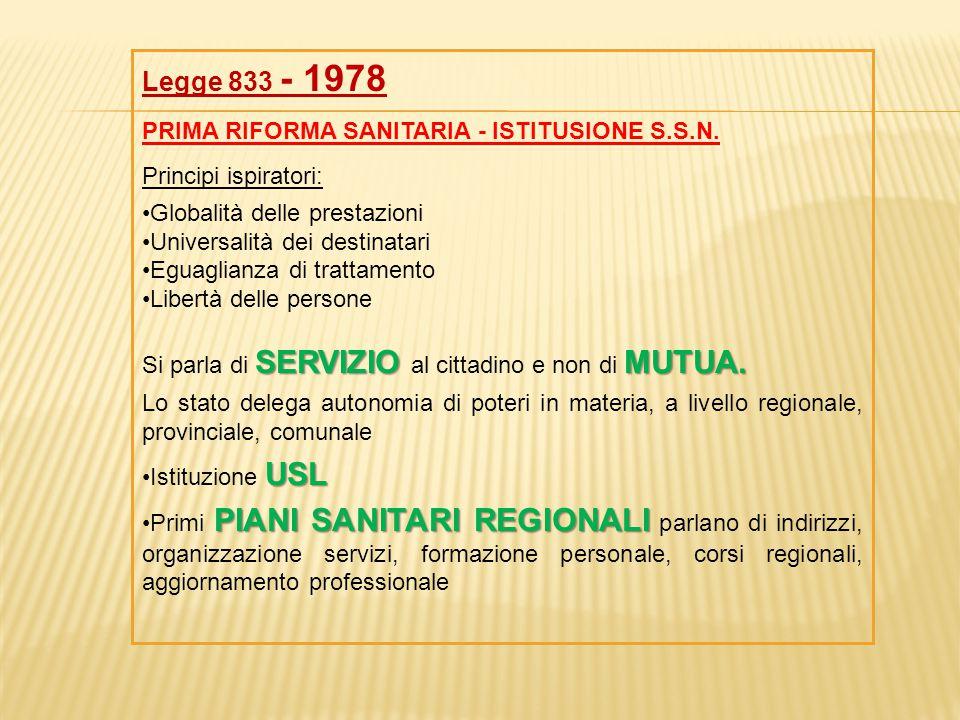 Legge 833 - 1978 PRIMA RIFORMA SANITARIA - ISTITUSIONE S.S.N. Principi ispiratori: Globalità delle prestazioni Universalità dei destinatari Eguaglianz