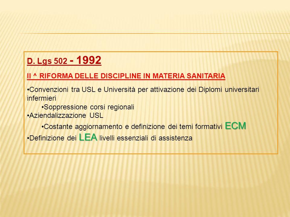 D. Lgs 502 - 1992 II ^ RIFORMA DELLE DISCIPLINE IN MATERIA SANITARIA Convenzioni tra USL e Università per attivazione dei Diplomi universitari infermi